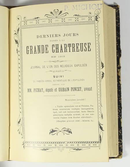 La grande chartreuse, par un chartreux - 1881 + Derniers jours passés .. en 1903 - Photo 3 - livre du XIXe siècle