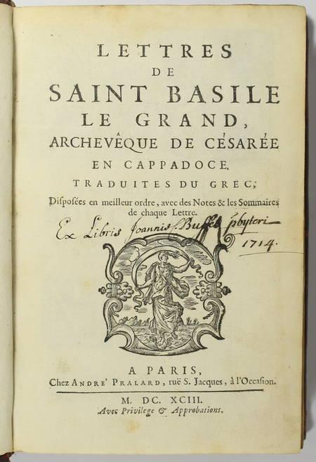 Lettres de Saint Basile le Grand, archevêque de Césarée en Cappadoce - 1693 - Photo 1 - livre du XVIIe siècle