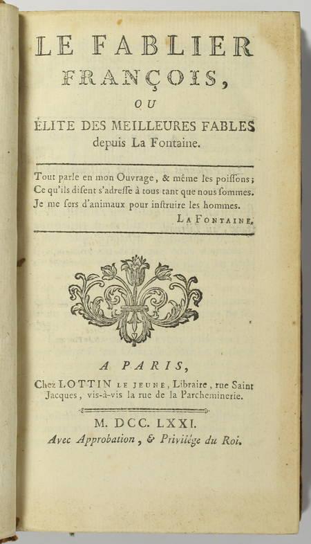 Le fablier françois ou élite des meilleurs fables depuis la Fontaine - 1771 - Photo 1 - livre du XVIIIe siècle
