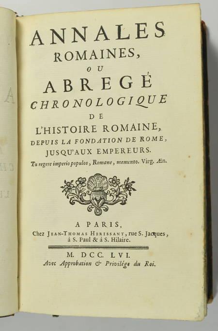 MACQUER Annales romaines depuis la fondation de Rome, jusqu aux empereurs - 1756 - Photo 1 - livre d occasion