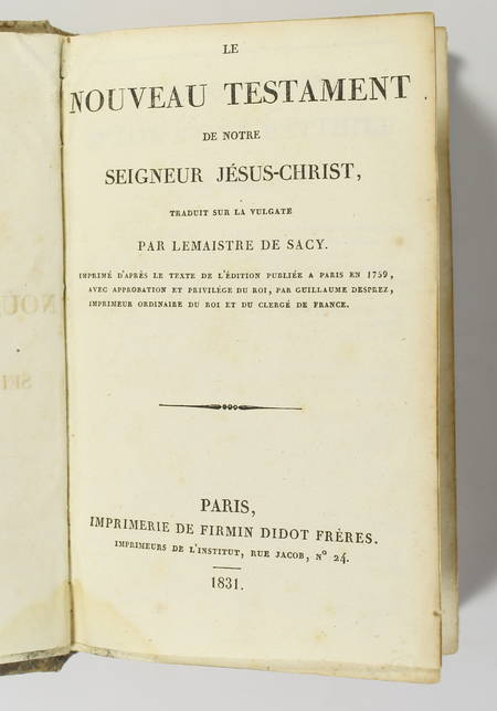 SACI - Nouveau testament - 1831 - Reliure en parchemin du 17e - Photo 1 - livre du XIXe siècle