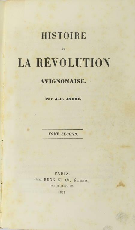 ANDRE - Histoire de la révolution avignonaise - 1844 - Relié - Photo 4, livre rare du XIXe siècle