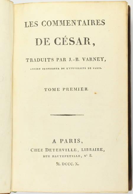 JULES CESAR - Les commentaires, traduit par J. B. Varney - 1810 - Photo 1 - livre d'occasion