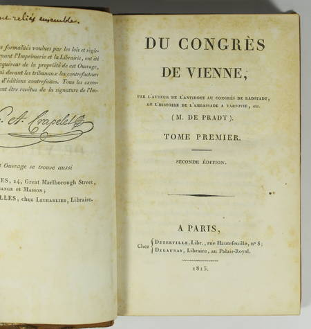 [Empire Restauration] De Pradt - Du congrès de Vienne - 1815 - Photo 1 - livre du XIXe siècle