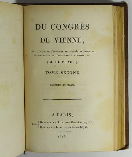 [Empire Restauration] De Pradt - Du congrès de Vienne - 1815 - Photo 2 - livre de collection