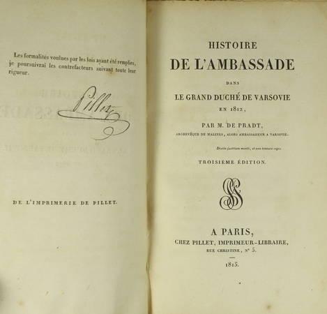 De Pradt - Histoire de l'ambassade dans le duché de Varsovie en 1812 - 1815 - Photo 1 - livre de collection