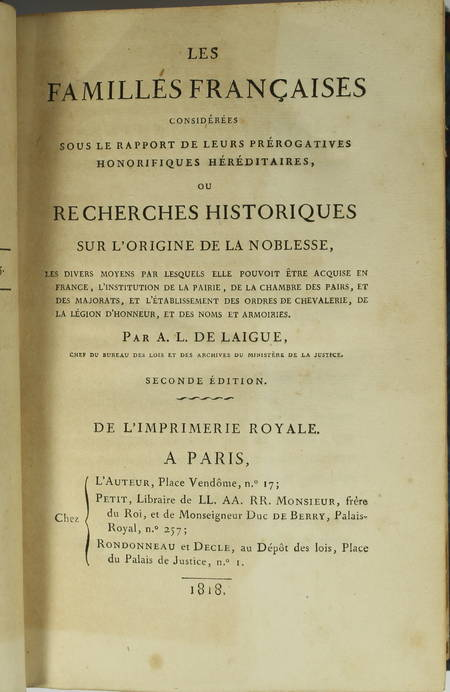 [Noblesse] LAIGUE - Les Familles françaises - 1818 - Origines, ... - Photo 0 - livre rare