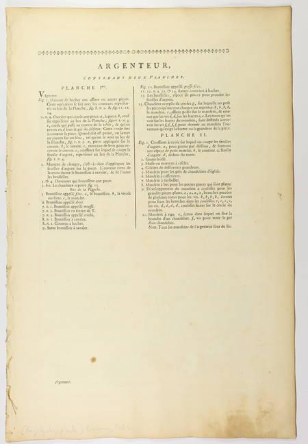 Argenteur - 1762 [Encyclopédie, planches, gravures, métier] - Photo 1 - livre de bibliophilie