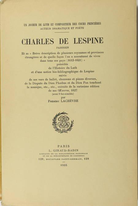 LACHEVRE - Charles de Lespine, joueur de luth parisien du 17e - 1935 - Photo 0 - livre de collection