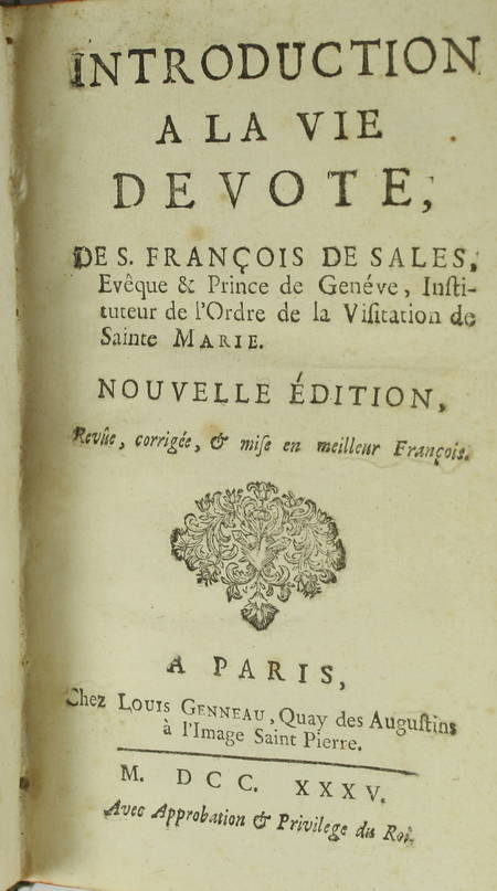 Introduction à la vie dévote de S. François de Sales - Paris, Louis Genneau 1735 - Photo 1 - livre ancien
