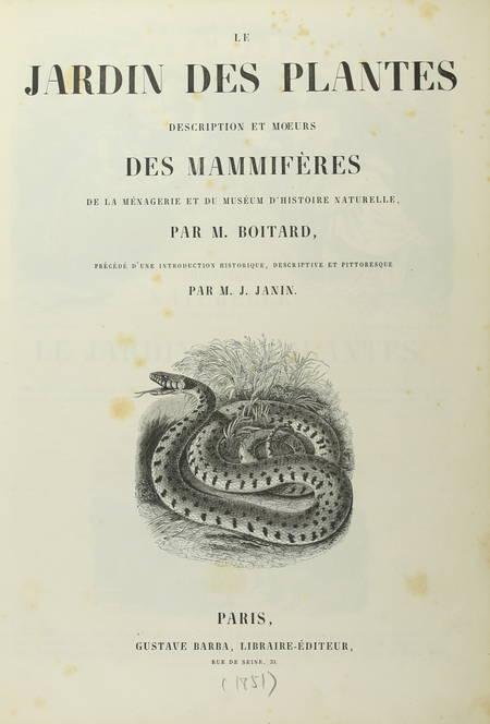 BOITARD - Le jardin des plantes - Mammifères - Barba (1851) - Gravures - Photo 2, livre rare du XIXe siècle