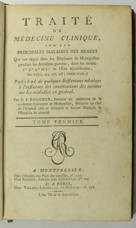 [Montpellier] Roucher - Traité de médecine sur les maladies des armées - 1798 - Photo 1 - livre d'occasion