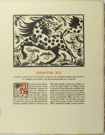 RABELAIS - Gargantua. Edition ornée de gravures sur bois par Hermann Paul - 1921 - Photo 2 - livre d'occasion