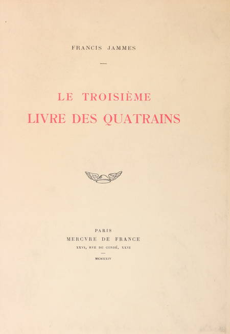 JAMMES (Francis). Le troisième livre des quatrains, livre rare du XXe siècle