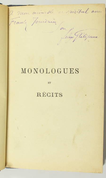 BOUCHER (Emile) et GALIPAUX (Félix). Monologues et récits, livre rare du XIXe siècle