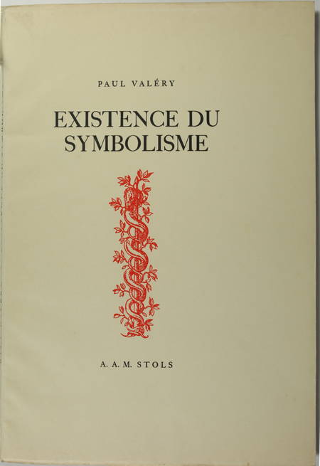 Paul VALERY - Existence du symbolisme - 1939 - EO sur vergé Antique de Luxe - Photo 0 - livre de collection