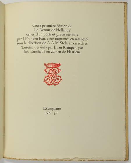 VALERY - Le retour de Hollande - Descartes et Rembrandt - 1926 - EO sur Hollande - Photo 2, livre rare du XXe siècle