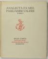 VALERY (paul). Analecta ex mss. Pauli Ambrosii Valerii ad usum amicorum ejus qui a septemrione habitant. Tomus I