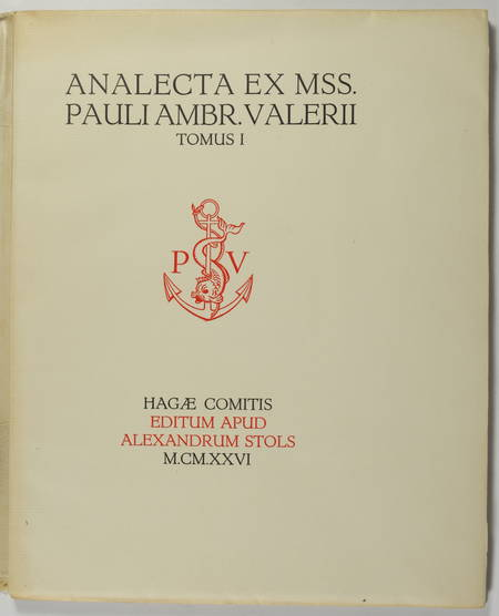VALERY (paul). Analecta ex mss. Pauli Ambrosii Valerii ad usum amicorum ejus qui a septemrione habitant. Tomus I, livre rare du XXe siècle