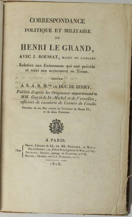 Correspondance de Henri IV avec Roussat, maire de Langres - 1816 - Photo 2 - livre de bibliophilie