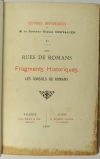 Ulysse CHEVALIER - Les rues de Romans - Fragments - Consuls - 1900 - Photo 1 - livre d occasion