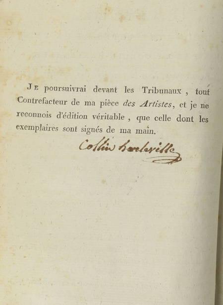 COLLIN HARLEVILLE (M.). Les artistes. Pièce en quatre actes et en vers, par J. F. Collin-Harleville. Représentée pour la première fois, à Paris, le 19 brumaire, l'an cinq (9 novembre 1796), livre ancien du XVIIIe siècle