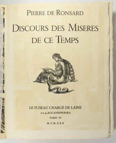 RONSARD - Discours des misères de ce temps - 1930 - Burins de Decaris - Photo 4 - livre du XXe siècle