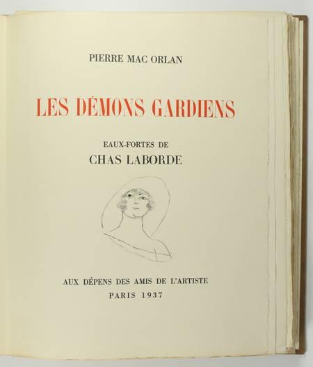 Pierre MAC ORLAN - Les démons gardiens - 1937 - Eaux-fortes de Chas-laborde - Photo 4, livre rare du XXe siècle