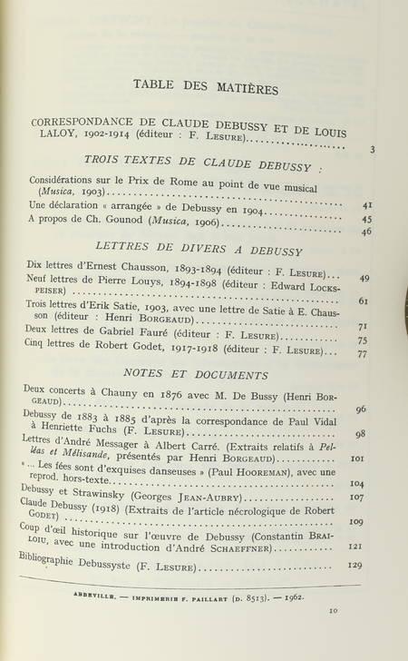[Musique] Claude Debussy - Textes et documents inédits - 1962 - Edité par Lesure - Photo 1 - livre de collection