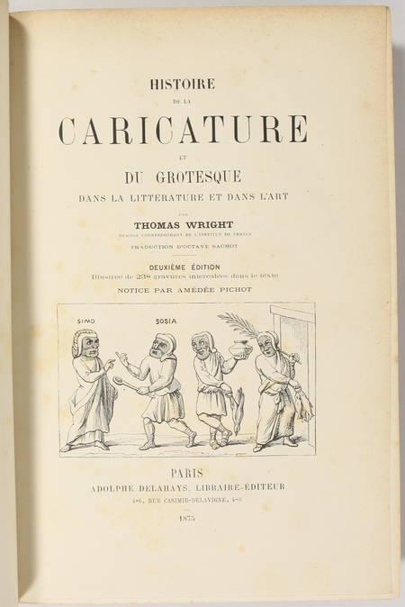 WRIGHT Histoire de la caricature et du grotesque 1875 - Reliure signée maroquin - Photo 1 - livre d'occasion