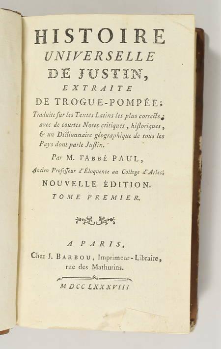 Histoire universelle de Justin, extraite de Trogue-Pompée - 1788 - 2 volumes - Photo 1, livre ancien du XVIIIe siècle