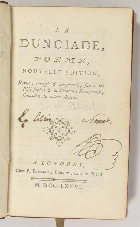 Palissot - Dunciade suivie des Philosophes et de l'Homme dangereux 1776 Comédies - Photo 1 - livre de bibliophilie