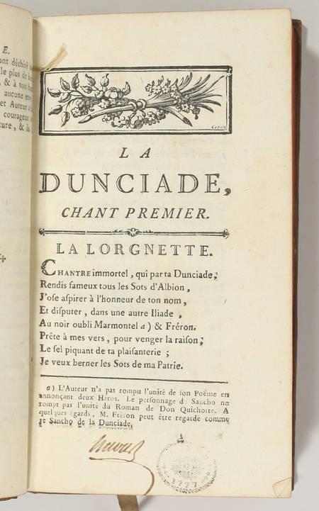 Palissot - Dunciade suivie des Philosophes et de l'Homme dangereux 1776 Comédies - Photo 2 - livre de bibliophilie