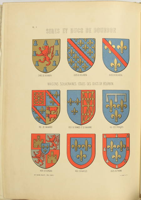SOULTRAIT - Armorial du Bourbonnais - 1890 - 2 volumes - 32 planches - Photo 0 - livre rare