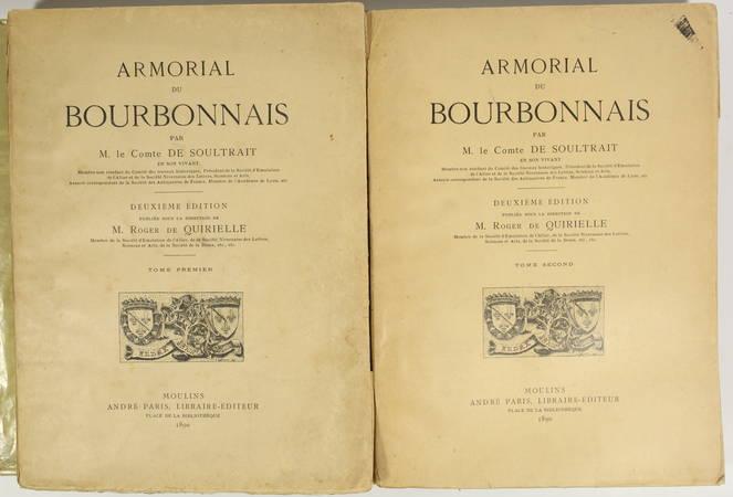 SOULTRAIT - Armorial du Bourbonnais - 1890 - 2 volumes - 32 planches - Photo 1 - livre rare