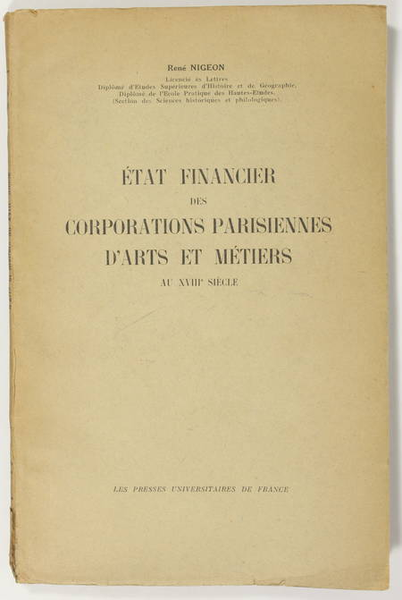NIGEON Etat financier, corporations parisiennes d'arts et métiers au 18e - 1934 - Photo 0 - livre d'occasion