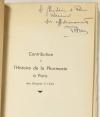 LEURQUIN (P.). Contribution à l'histoire de la pharmacie à Paris des origines à 1536