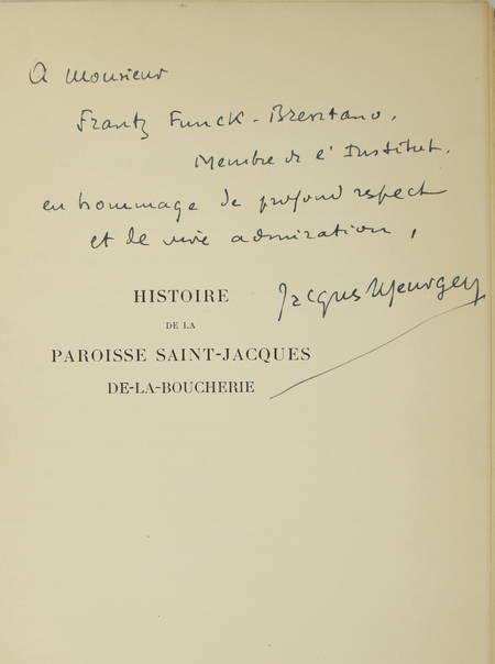 MEURGEY (Jacques). Histoire de la paroisse Saint-Jacques-de-la-Boucherie