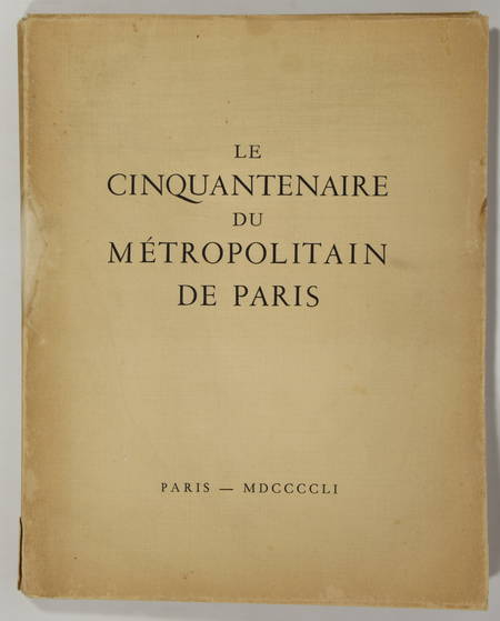 [Métro] Paris - Cinquantenaire du métropolitain - 1951 - Eau-forte de Jacquemin - Photo 1 - livre du XXe siècle