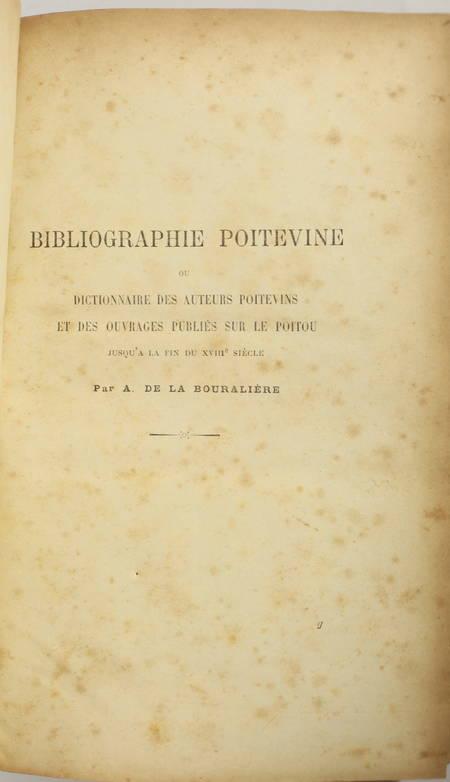 [Poitou] BOURALIERE - Bibliographie poitevine - 1908 - Photo 1, livre rare du XXe siècle