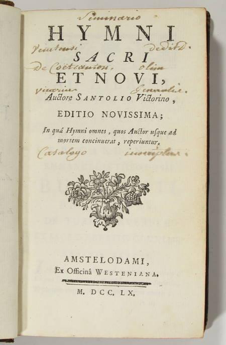 Victorino SANTOLIO - Hymni sacri et novi - 1760 - Photo 1, livre ancien du XVIIIe siècle