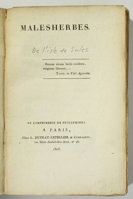 L'ISLE DE SALES - Malesherbes - Paris, Duprat-Letellier, 1803 - Photo 0 - livre de collection