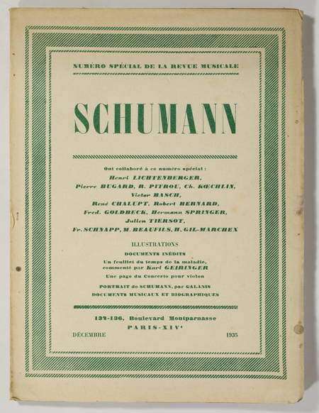 . Schumann. Numéro spécial de la Revue Musicale, décembre 1935