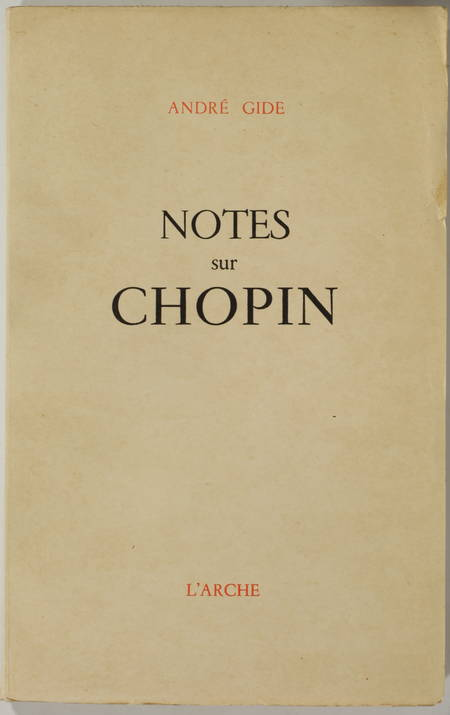 GIDE (André). Notes sur Chopin