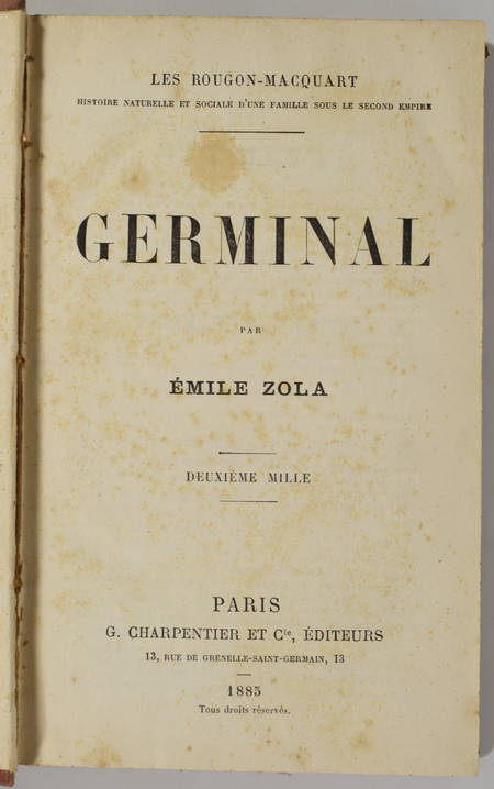 Emile ZOLA - Germinal - Charpentier - 1885 - 2e mille - Photo 0 - livre de collection