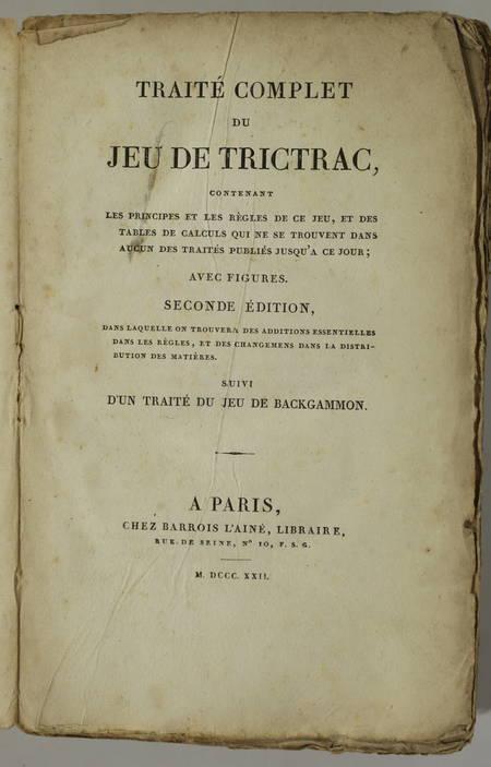[GUITON] - Traité complet du jeu de Trictrac + Backgammon - 1822 - figures - Photo 1 - livre d occasion
