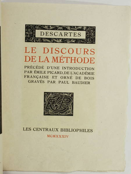 DESCARTES - Le discours de la méthode - 1934 - Bois de Paul Baudier - 1/130 ex - Photo 1 - livre de collection