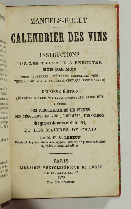 LEBEUF - Calendrier des vins ou instructions - Roret, 1876 - Relié - Photo 1 - livre rare