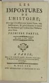 Les impostures de l histoire - Ouvrage nécessaire aux jeunes gens - 1770 - Photo 1, livre ancien du XVIIIe siècle