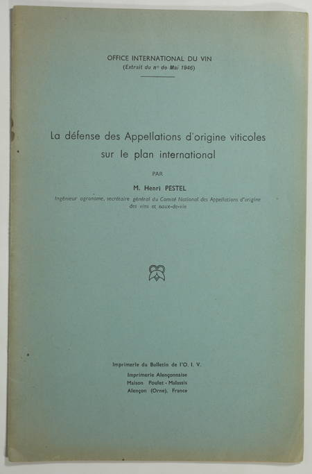 [VINS] Défense des appellations d'origine viticoles au plan international - 1946 - Photo 0, livre rare du XXe siècle